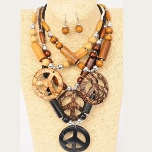 Jewelry - Large Peace Sign Necklace and Earring Set (1 set)